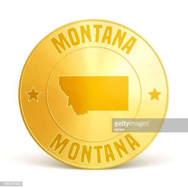 montana - gold coin on white background - white gold stock illustrations