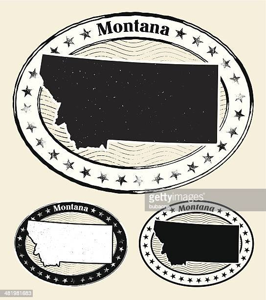Montana Grunge Map Black & White Stamp Collection