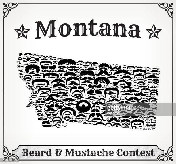 Montana Map on Mustache royalty free vector art Pattern