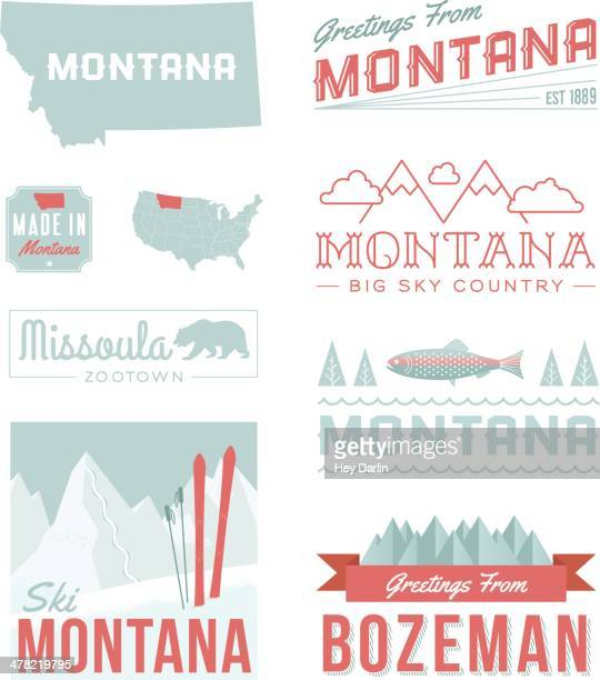 montana typography - montana western usa stock illustrations