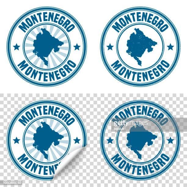 montenegro - blauen aufkleber und stempel mit namen und karte - montenegro stock-grafiken, -clipart, -cartoons und -symbole