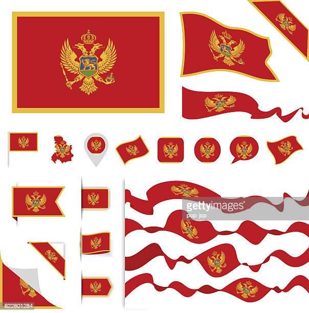 montenegro flag set - montenegro stock-grafiken, -clipart, -cartoons und -symbole