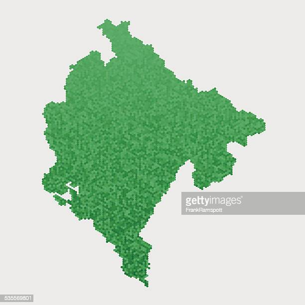 montenegro map green hexagon pattern - montenegro stock illustrations, clip art, cartoons, & icons