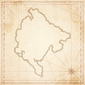 Montenegro map in retro vintage style - old textured paper