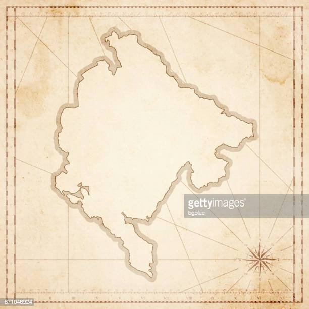 montenegro landkarte im retro-vintage-stil - strukturierte altpapier - montenegro stock-grafiken, -clipart, -cartoons und -symbole