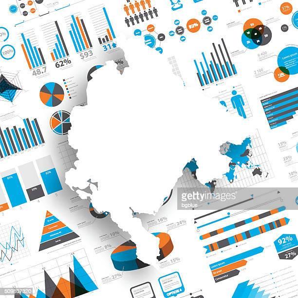 montenegro karte auf infografik hintergrund - montenegro stock-grafiken, -clipart, -cartoons und -symbole