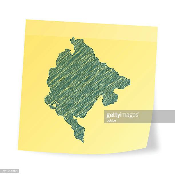 montenegro karte auf klebezettel mit scribble-effekt - montenegro stock-grafiken, -clipart, -cartoons und -symbole