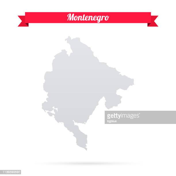 montenegro map on white background with red banner - montenegro stock illustrations, clip art, cartoons, & icons