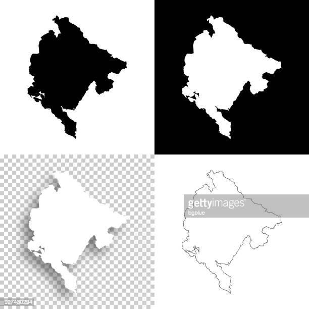 montenegro-karten für design - leere, weiße und schwarze hintergründe - montenegro stock-grafiken, -clipart, -cartoons und -symbole