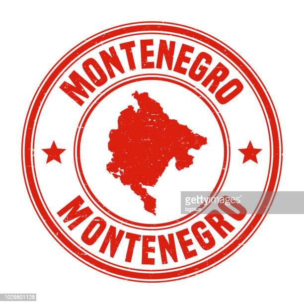 montenegro - rote grunge-stempel mit namen und karte - montenegro stock-grafiken, -clipart, -cartoons und -symbole