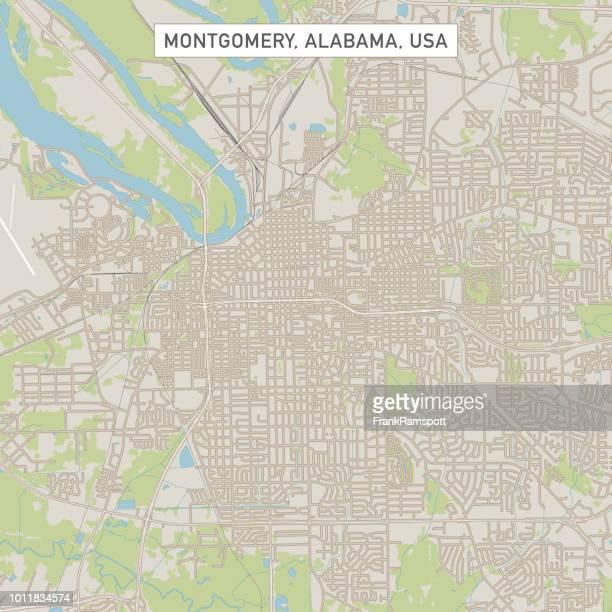 米国アラバマ州モントゴメリー市地図 - montgomery点のイラスト素材/クリップアート素材/マンガ素材/アイコン素材