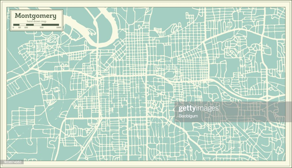 Montgomery Alabama USA City Map in Retro Style. Outline Map.