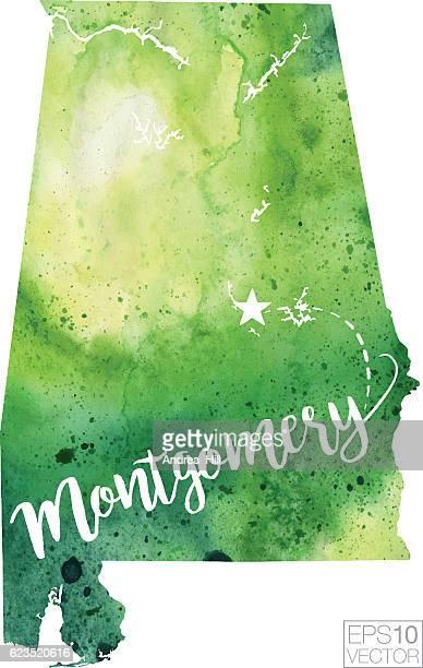 montgomery, alabama, usa vector watercolor map - montgomery alabama stock illustrations, clip art, cartoons, & icons