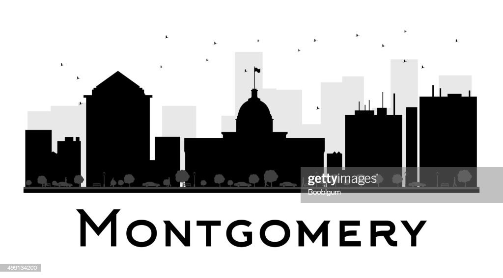 Montgomery City skyline black and white silhouette