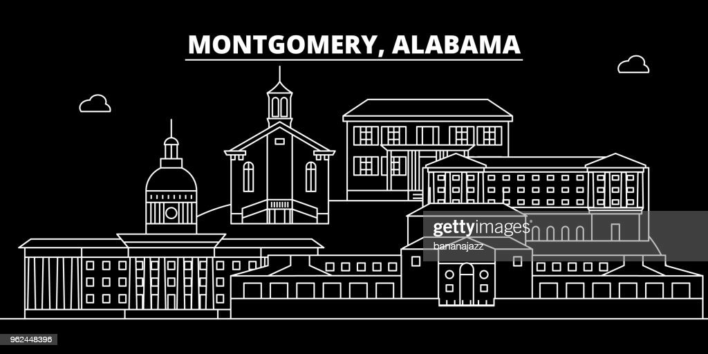 Montgomery silhouette skyline. USA - Montgomery vector city, american linear architecture, buildings. Montgomery travel illustration, outline landmarks. USA flat icon, american line banner
