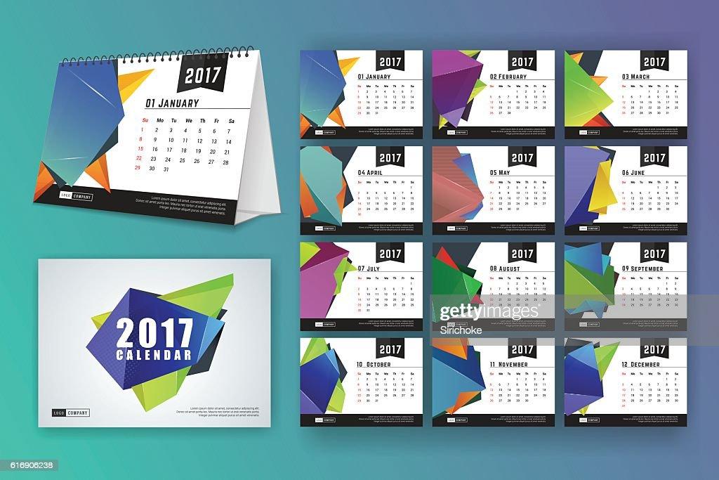 12 month desk calendar template for print design : Vector Art