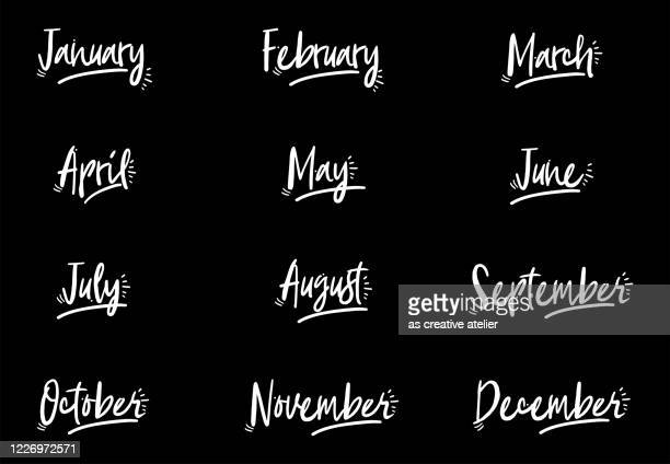 12 month. handwritten lettering months of the year. - february stock illustrations