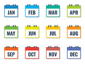 month name in calendar, colorful flat style vector illustration