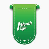 1 Month Offer Green Vector Icon Design