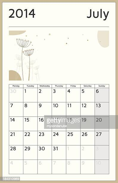 monthly 2014 calendar - july - monthly event stock illustrations