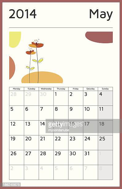 monthly 2014 calendar - may - monthly event stock illustrations