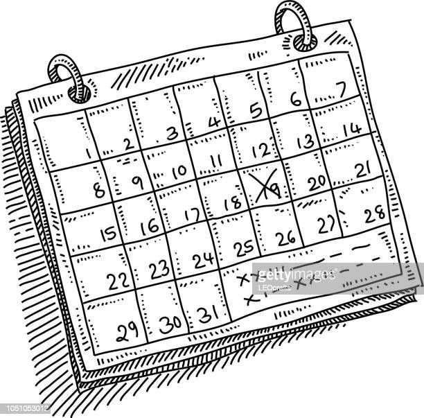 monthly calendar appointment drawing - sketch stock illustrations