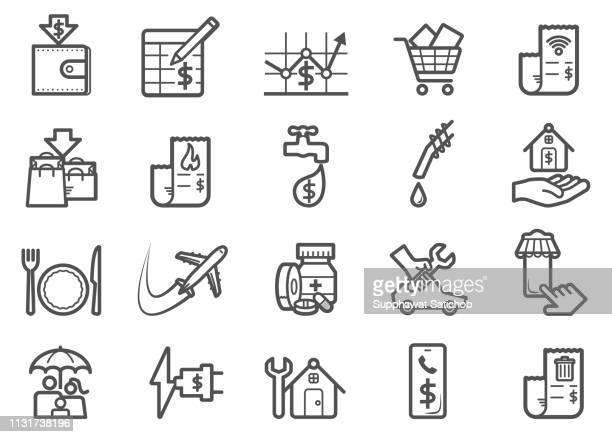 monthly expense line icons set - spreadsheet stock illustrations