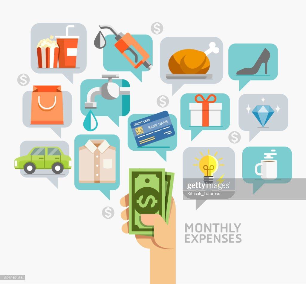 Monthly expenses conceptual flat style.