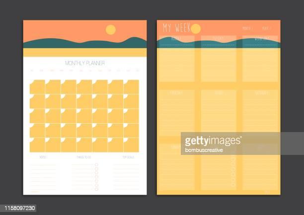 monthly planner and week planner set - 2019 calendar background stock illustrations