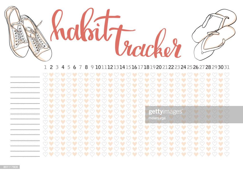 Monatliche Planer Gewohnheit Tracker Leere Vorlage Vektorgrafik ...