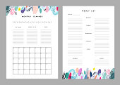 Monthly Planner plus Weekly List Templates
