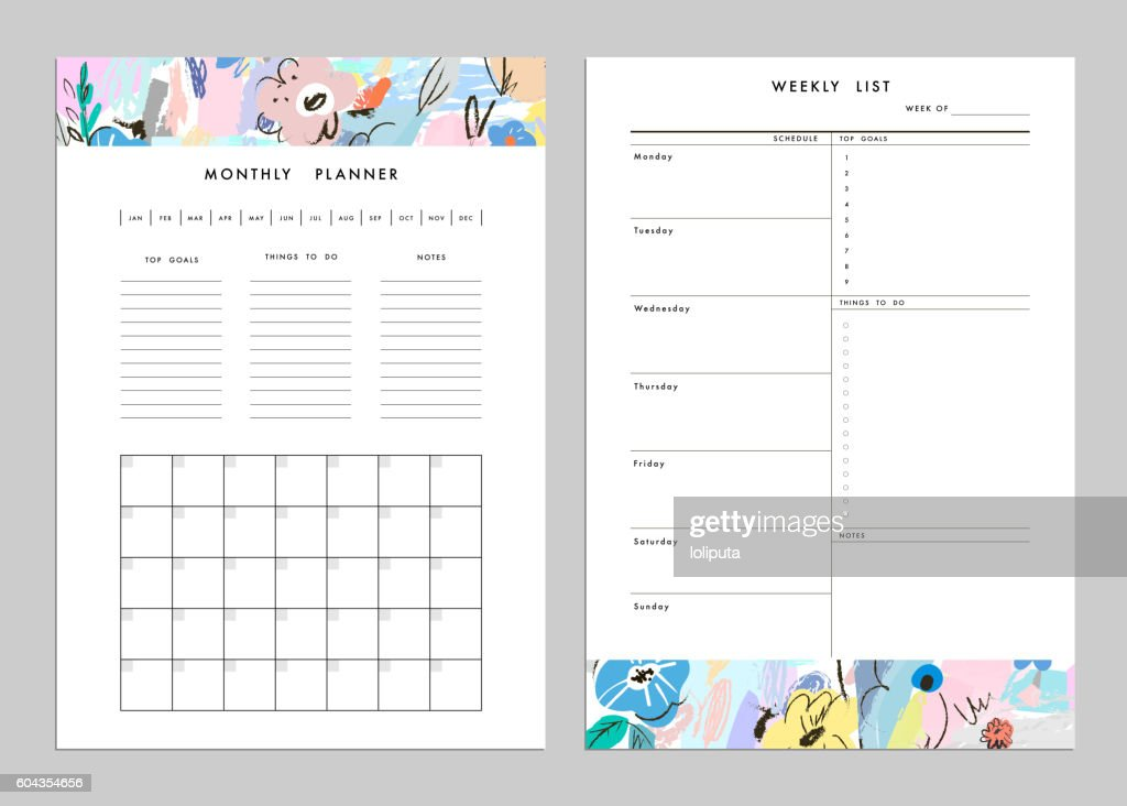 Monthly Planner plus Weekly List Templates. Vector