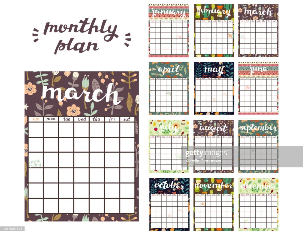Monthly Planner Template Planner Calendar With All Months Vector Art