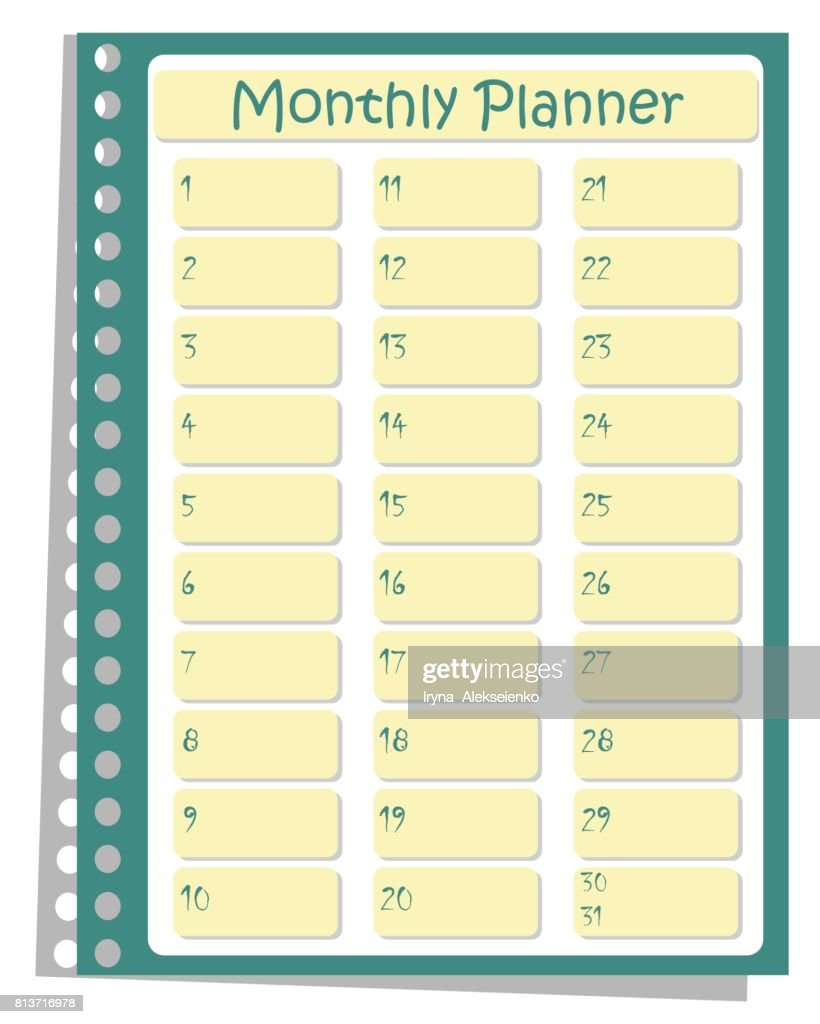 monthly planner todo list for organizing a day on a green background