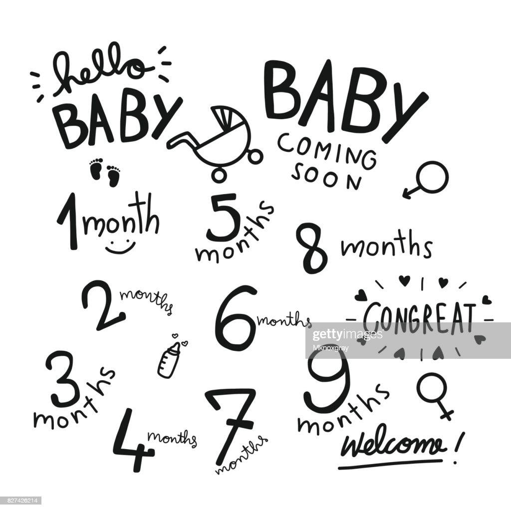 1-9 months baby word vector set illustration