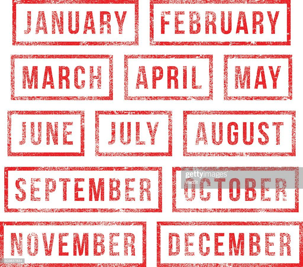 Months of the year - rubber stamps : stock illustration