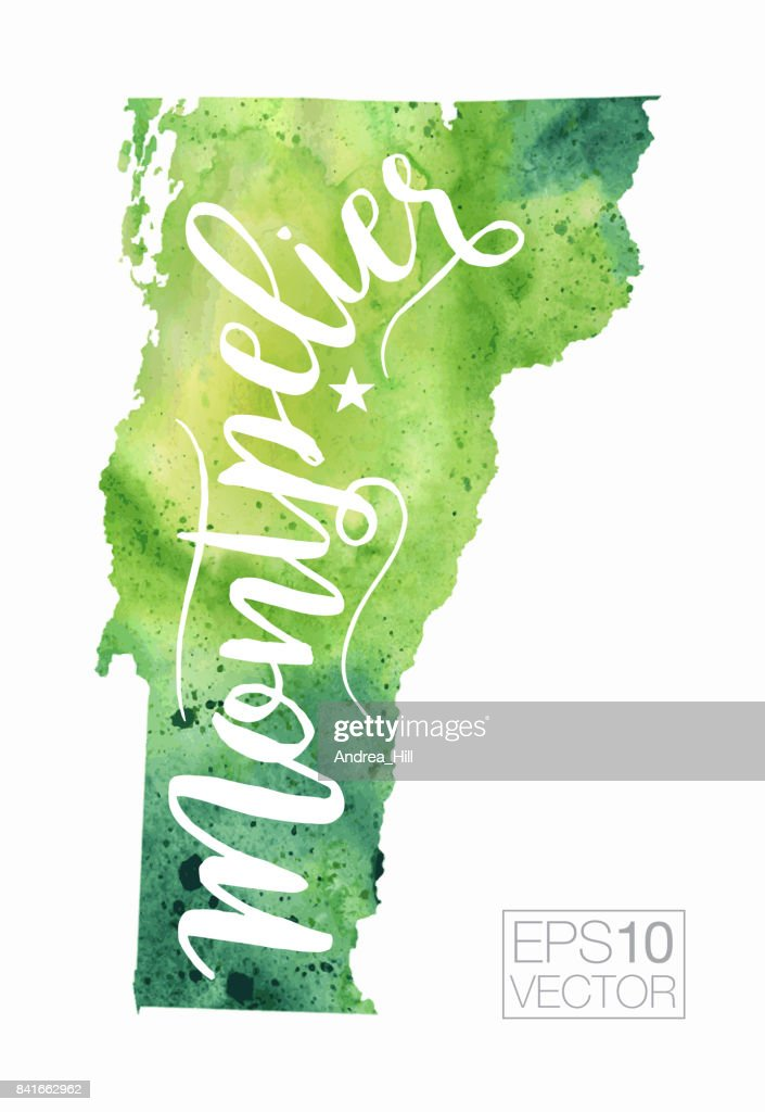 Montpelier Vermont Usa Vector Watercolor Map Vector Art Getty Images