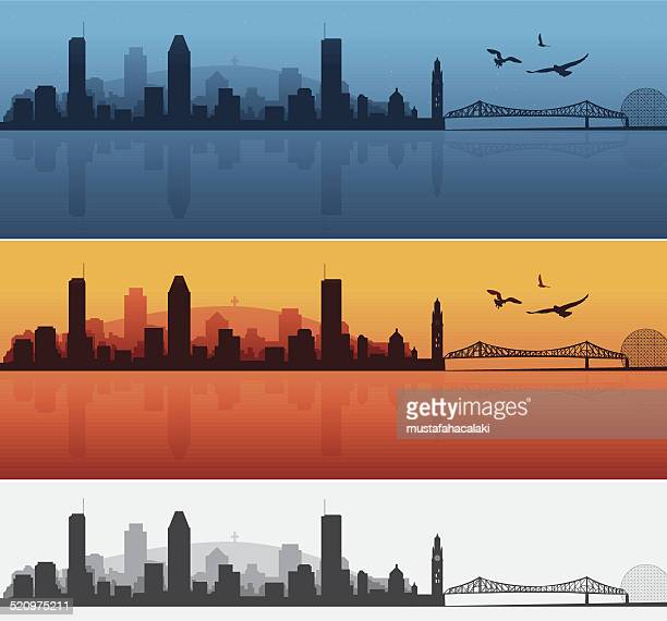 montreal night and sunset silhouettes - montreal stock illustrations