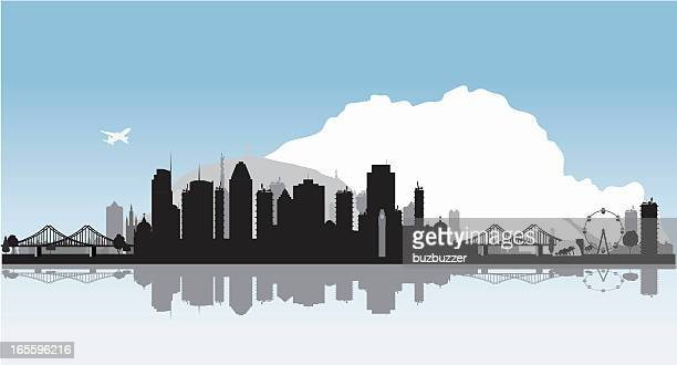 montreal vector cityscape with water reflection - buzbuzzer stock illustrations