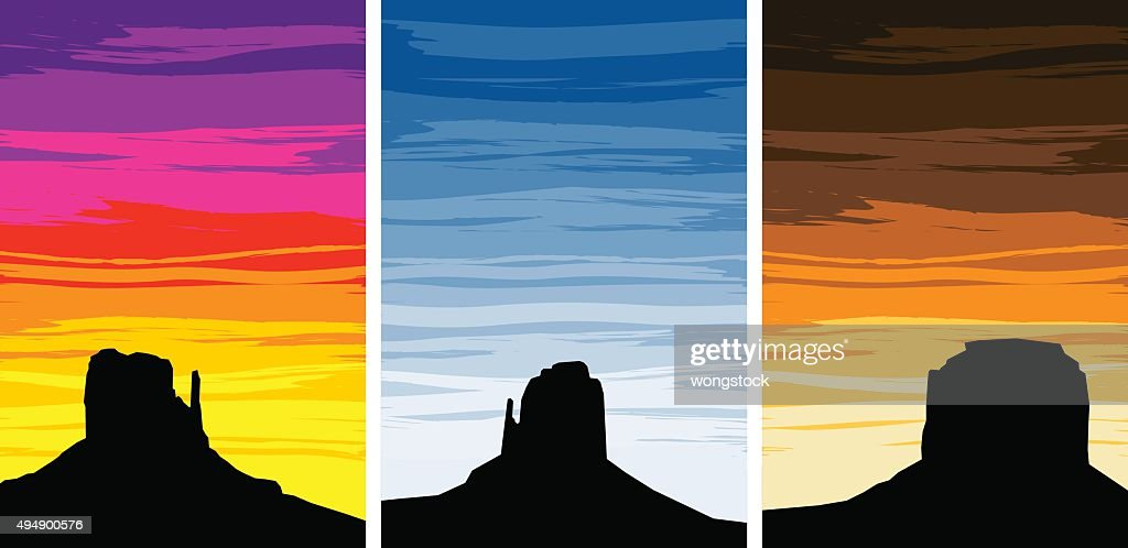 Monument Valley Silhouettes at Sunrise and Sunset