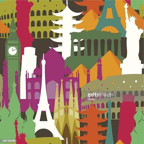 monuments seamless pattern - international landmark stock illustrations