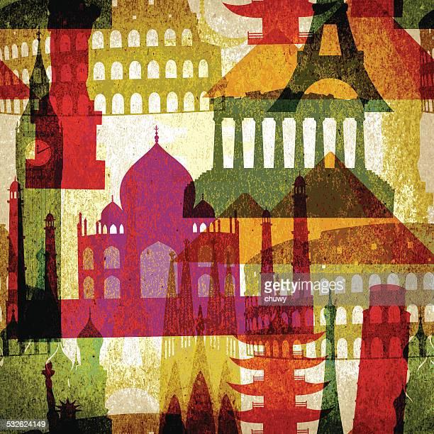 ilustrações, clipart, desenhos animados e ícones de monumentos vintage padrão sem emendas - coliseu