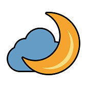 Moon and cloud cartoon