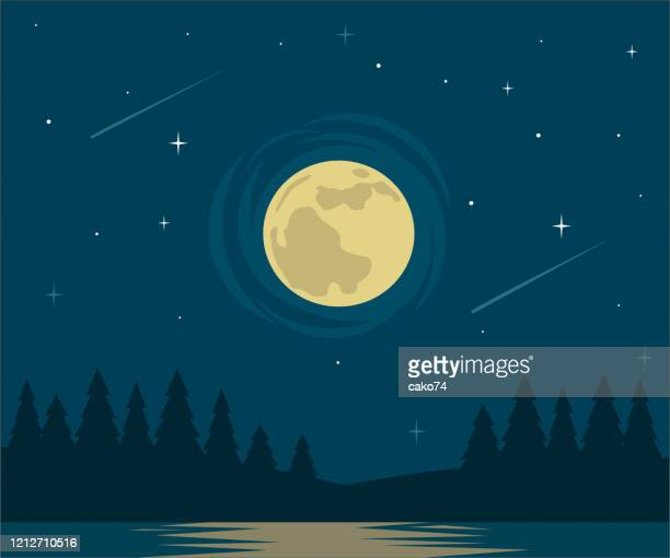 moon and lake flat design - meteor shower stock illustrations