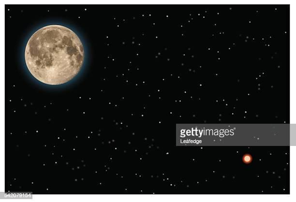ilustraciones, imágenes clip art, dibujos animados e iconos de stock de luna y marte (marte enfoque más cercana) - luna llena