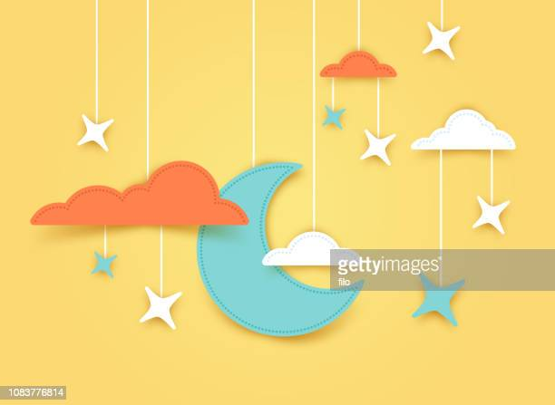 moon and stars night background banner - dreamlike stock illustrations