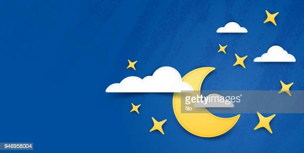 moon and stars night background - cute stock illustrations
