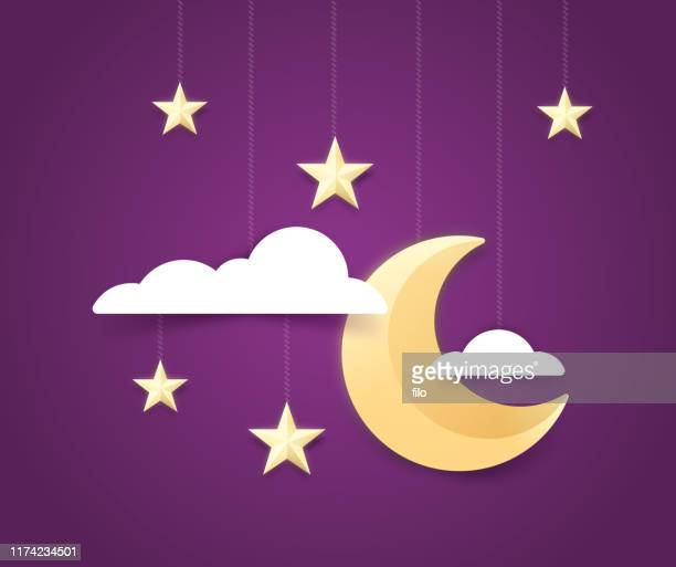moon and stars night sky background - dreamlike stock illustrations