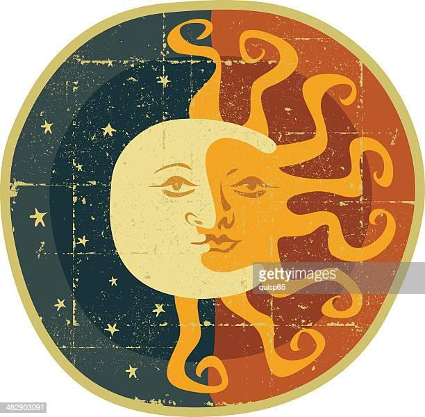 ilustraciones, imágenes clip art, dibujos animados e iconos de stock de luna y sol - sol en la cara