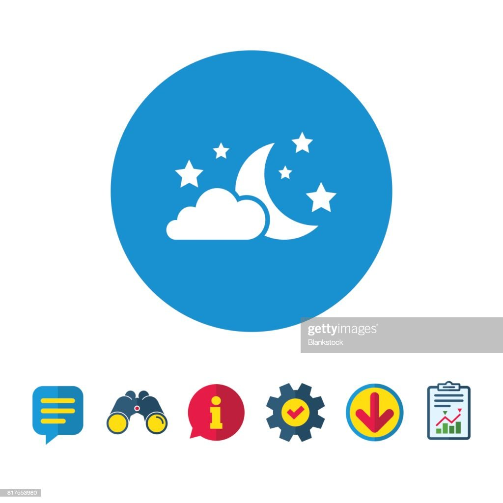 Moon Clouds And Stars Sign Icon Dreams Symbol Vector Art Getty Images
